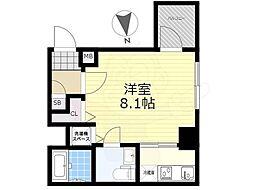 東武亀戸線 亀戸水神駅 徒歩9分の賃貸マンション 8階1Kの間取り