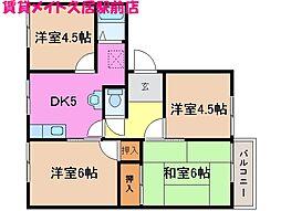 三重県津市南中央の賃貸アパートの間取り