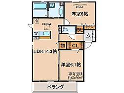京都府京都市伏見区醍醐西大路町の賃貸アパートの間取り