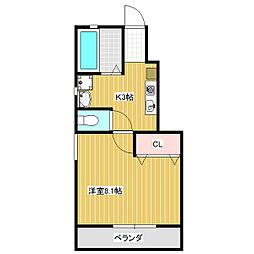 岡山県岡山市中区四御神の賃貸アパートの間取り