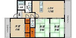 Osaka Metro長堀鶴見緑地線 横堤駅 徒歩8分の賃貸マンション 2階3LDKの間取り