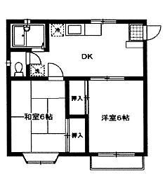神奈川県横浜市港南区上永谷の賃貸アパートの間取り