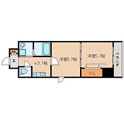 JR東海道本線 静岡駅 徒歩16分の賃貸マンション 6階2Kの間取り
