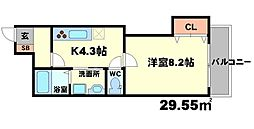 大阪府豊中市上新田3丁目の賃貸アパートの間取り