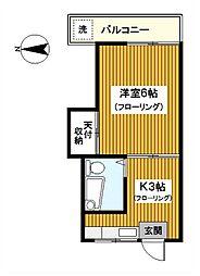 神奈川県川崎市川崎区大島1丁目の賃貸アパートの間取り