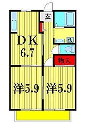 千葉県松戸市五香西3丁目の賃貸アパートの間取り