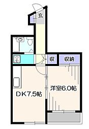 東京都西東京市西原町1丁目の賃貸マンションの間取り