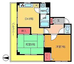 シャトー乙川[2階]の間取り