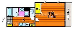 JR山陽本線 岡山駅 徒歩20分の賃貸アパート 1階1Kの間取り