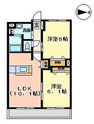 青森県八戸市南白山台3丁目の賃貸アパートの間取り