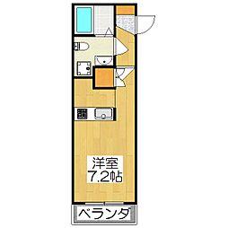 THE GARNET SUITE RESIDENCE深草 1階ワンルームの間取り