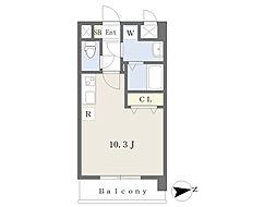 JR鹿児島本線 熊本駅 徒歩17分の賃貸マンション 2階ワンルームの間取り
