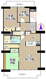シーアイハイツ町田F棟 9階3SLDKの間取り