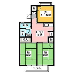 ジュネスマルフク C棟 D棟[2階]の間取り