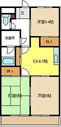 愛知県名古屋市緑区大将ケ根1の賃貸アパートの間取り
