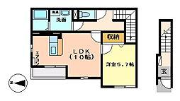 JR常磐線 偕楽園駅 バス13分 大工町3丁目下車 徒歩5分の賃貸アパート 2階1LDKの間取り