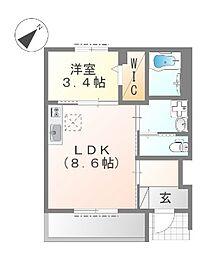 東久宝寺賃貸アパート新築工事 1階1LDKの間取り
