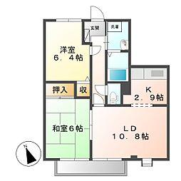 岡山県倉敷市児島下の町6丁目の賃貸アパートの間取り