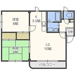 北海道札幌市東区北三十一条東12丁目の賃貸マンションの間取り