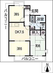 ロイヤルサンコーII B棟[2階]の間取り