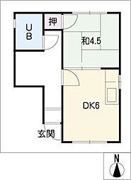 ピュアコーポ桜橋[2階]の間取り