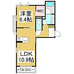 (仮)シャーメゾン高田 2階1LDKの間取り