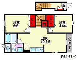 ディアコート柳瀬[2階]の間取り