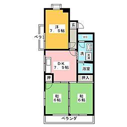 ラ・フォーレ二城[3階]の間取り