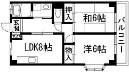兵庫県伊丹市荒牧南2丁目の賃貸マンションの間取り