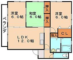 福岡県飯塚市口原の賃貸アパートの間取り
