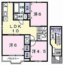 兵庫県加古郡稲美町六分一の賃貸アパートの間取り