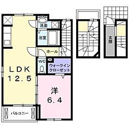 愛知県岡崎市真伝町字抱六岩の賃貸アパートの間取り