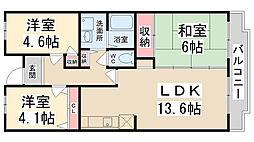 courtひらき坂[102号室]の間取り
