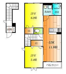 ラ・フルールIII[2階]の間取り