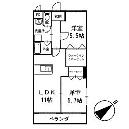ワンズホーム北野 3階[305号室]の間取り
