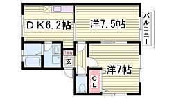 中山手ガーデンハウスA棟[201号室]の間取り