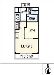 シャインヒルズ 3階1LDKの間取り