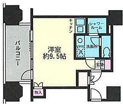 ルネ新宿御苑タワー 7階ワンルームの間取り