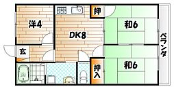 レクシーズ城野[6階]の間取り
