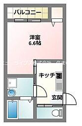 京阪本線 寝屋川市駅 徒歩12分の賃貸アパート 1階1Kの間取り