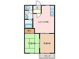 三重県松阪市庄町の賃貸アパートの間取り