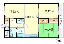 シェモワ箕面[3階]の間取り