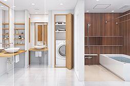換気機能でカビの発生を抑制して清潔・快適なバスルームをご提供。また寒い季節には暖房、冬期や梅雨時期など屋外で洗濯物を干せない場合には、浴室の遊休時間を利用して洗濯物の乾燥可能。完成イメージパースです。
