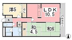 兵庫県たつの市誉田町福田の賃貸マンションの間取り