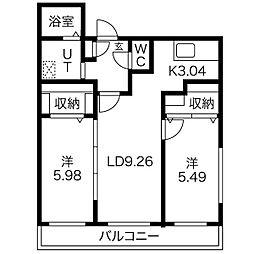 ガーデンテラス4C B棟[206号室]の間取り