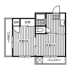 東京都調布市多摩川1丁目の賃貸アパートの間取り