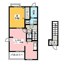 静岡県静岡市清水区吉川の賃貸アパートの間取り