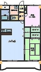 広島県東広島市西条土与丸2丁目の賃貸マンションの間取り