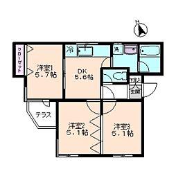 コンフォール桜新町[1階]の間取り