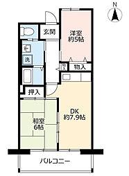 URシャレール東豊中 6階2DKの間取り